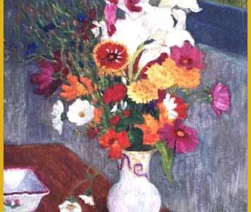 Bouquet au vase de porcelaine